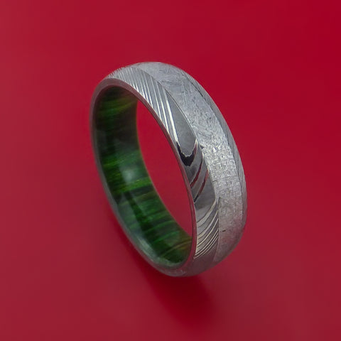 Damascus Steel Ring with Gibeon Meteorite and Jade Hardwood Sleeve Custom Made Band