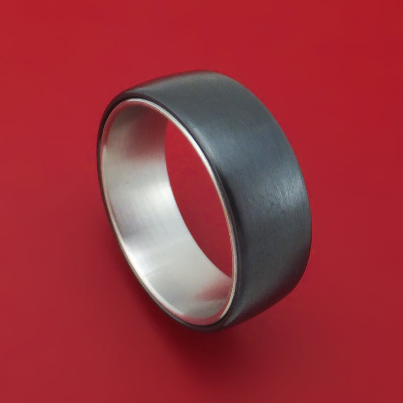 Black Titanium and 14K White Gold Ring by Ammara Stone