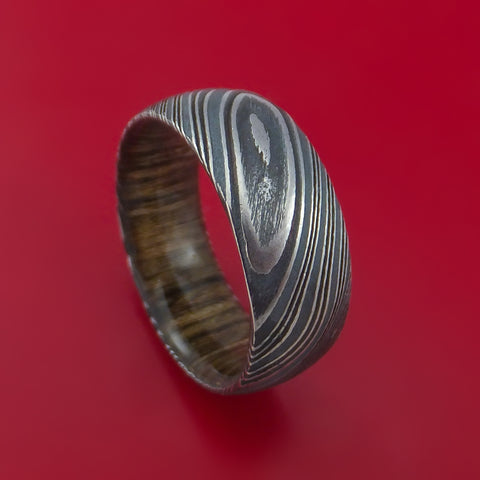 Kuro Damascus Steel Ring with Walnut Wood Hardwood Sleeve Custom Made Wood Band