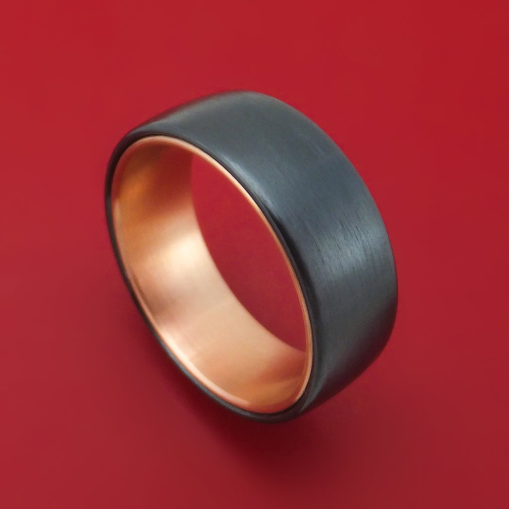 Black Titanium and 14K Rose Gold Ring by Ammara Stone