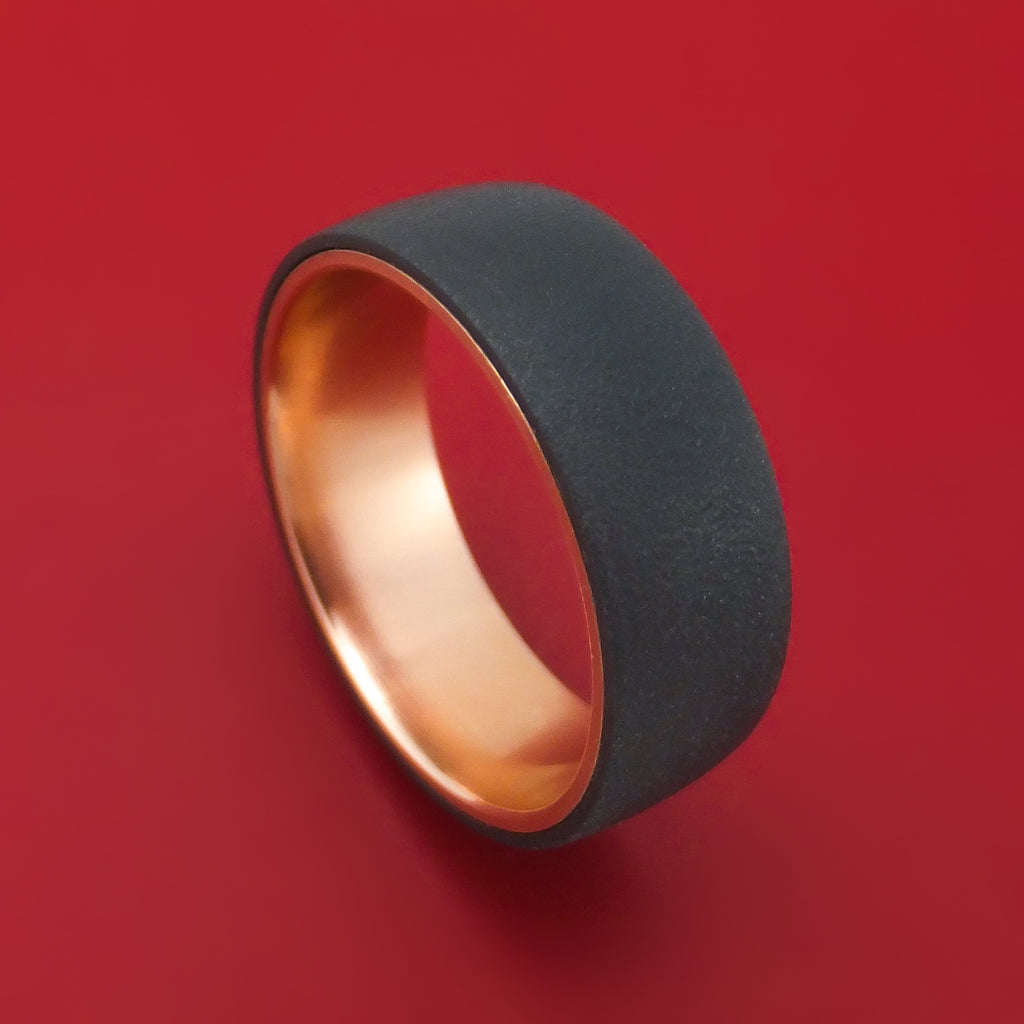 Blackened Tantalum and 14K Rose Gold Ring by Ammara Stone