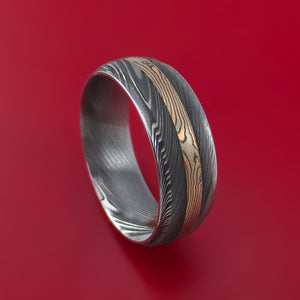 Damascus Steel Ring with 14k Rose Gold and White Gold Mokume Shakudo Inlay Custom Made Band