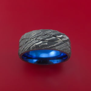 Hammered Damascus Steel Ring with Infinity Milled Celtic Design Inlay and Interior Anodized Titanium Sleeve Custom Made Band