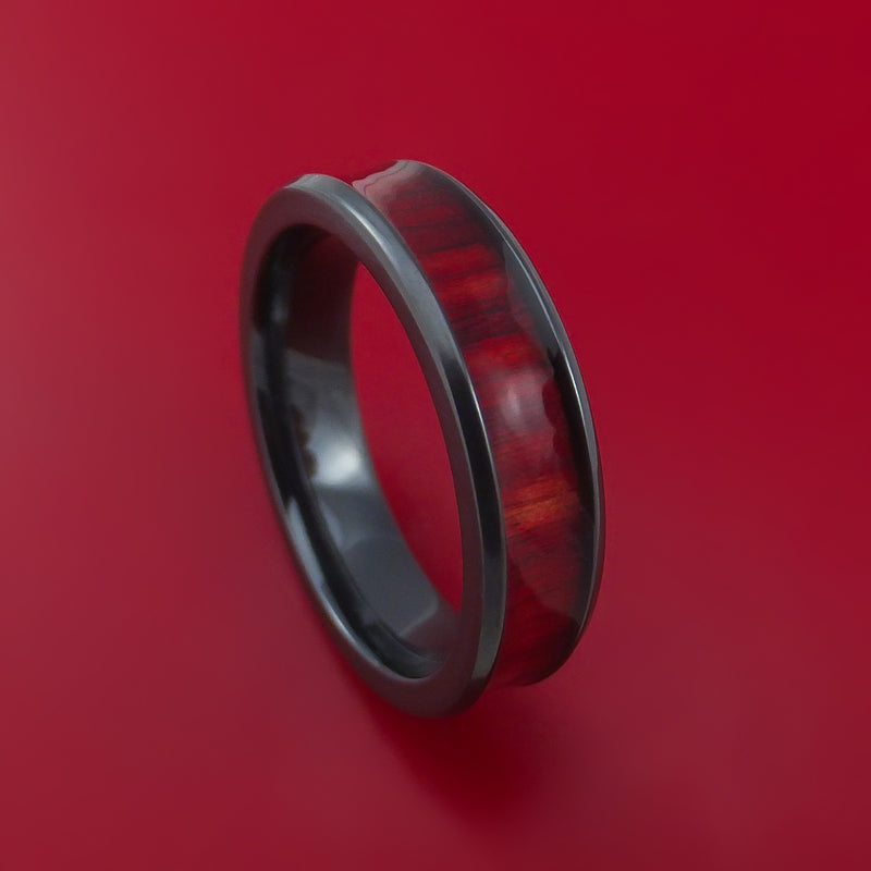 Black Zirconium and WOOD Ring inlaid in RED HEART WOOD Custom Made to Any Size and Optional Wood Type