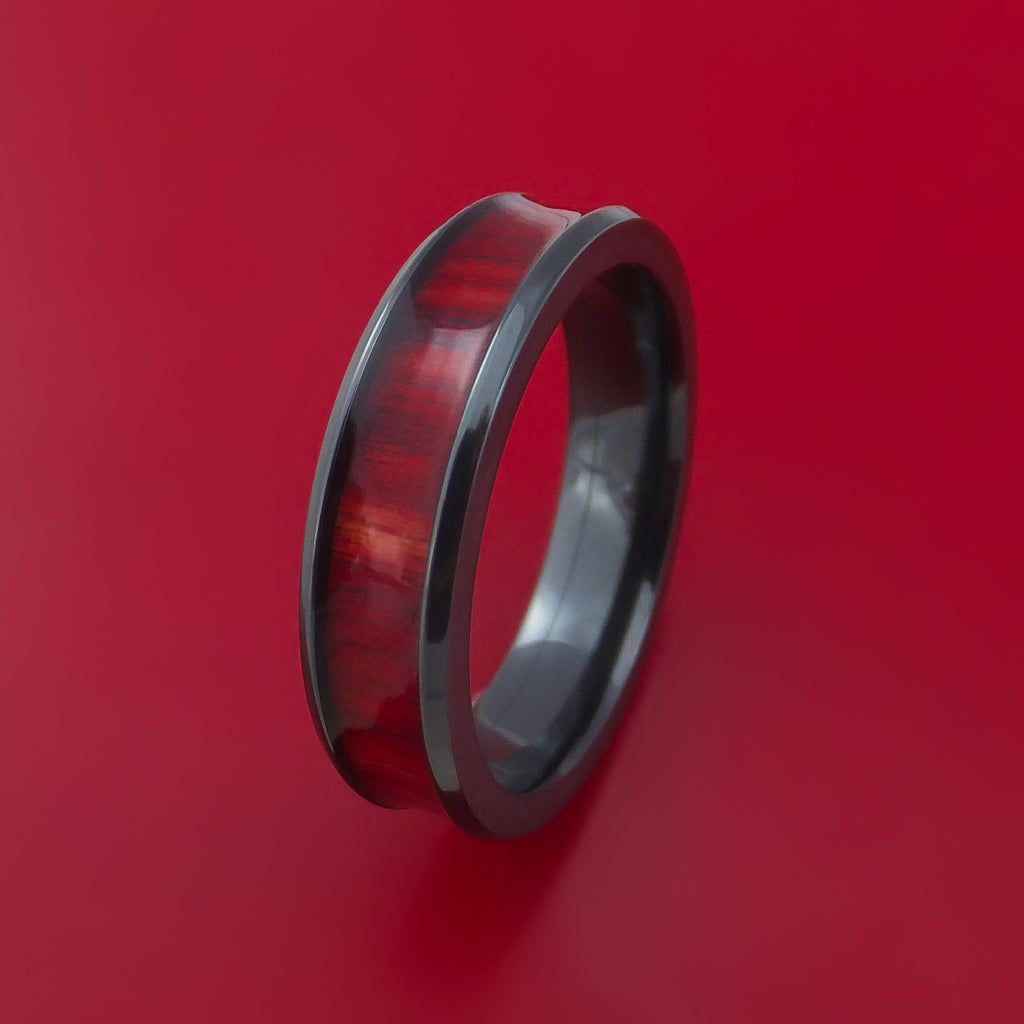 Black Zirconium and WOOD Ring inlaid in ROSEWOOD WOOD Custom Made to Any Size and Optional Wood Type
