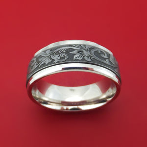 14K White Gold and Floral Design Tantalum Ring by Ammara Stone