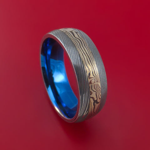 Damascus and 14k WHITE GOLD Mokume Gane Ring with Anodized Titanium Sleeve Custom Made