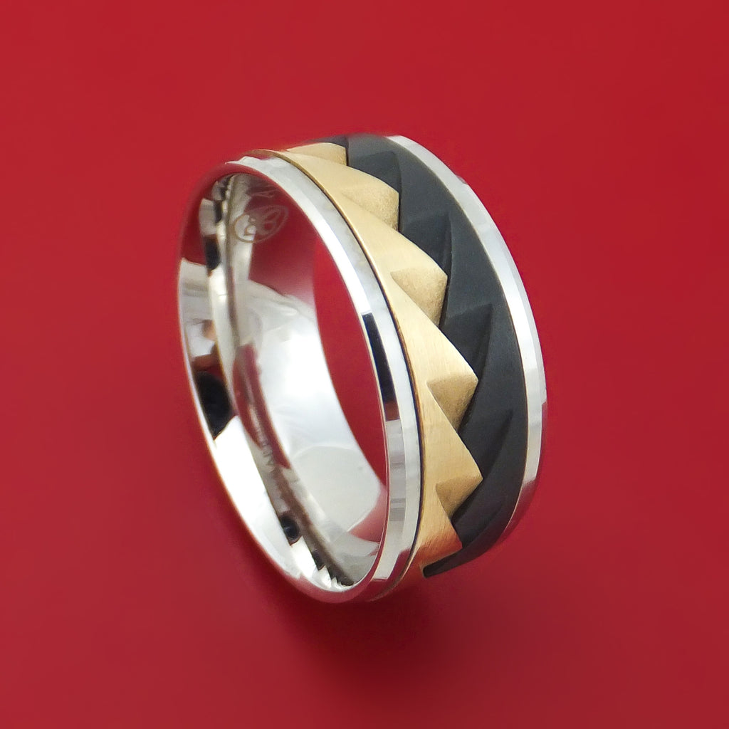 14K Gold and Black Titanium Geometric Ring by Ammara Stone