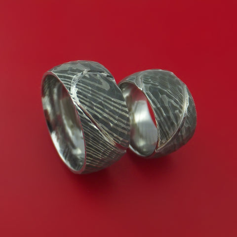 Matching Hammered Damascus Steel Heart Carved Ring Set Wedding Bands Genuine Craftsmanship
