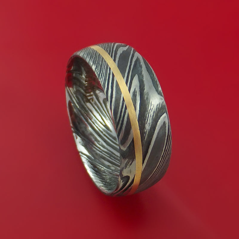 Kuro Damascus Steel Ring and 14k Yellow Gold Wedding Band Genuine Craftsmanship Custom Made