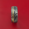 Kuro Damascus Steel Ring with 14k Yellow Gold Inlay Custom Made Band