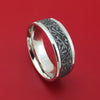14K White Gold and Marble Design Tantalum Ring by Ammara Stone