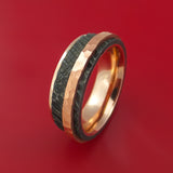 Damascus Steel and 14K Gold Ring with Tree Bark Finish and Hammered Copper Inlay