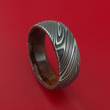 Kuro Damascus Steel Ring with Desert Ironwood Burl Hardwood Sleeve Custom Made Wood Band