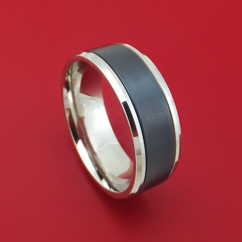 14K White Gold and Black Titanium Ring by Ammara Stone