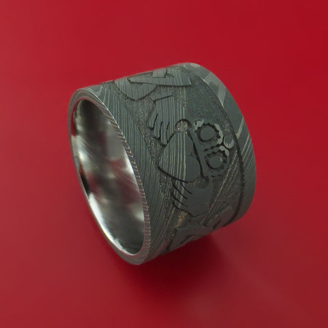 Wide Damascus Steel Celtic Irish Claddagh Ring Hands Clasping Heart Band Carved Any Size