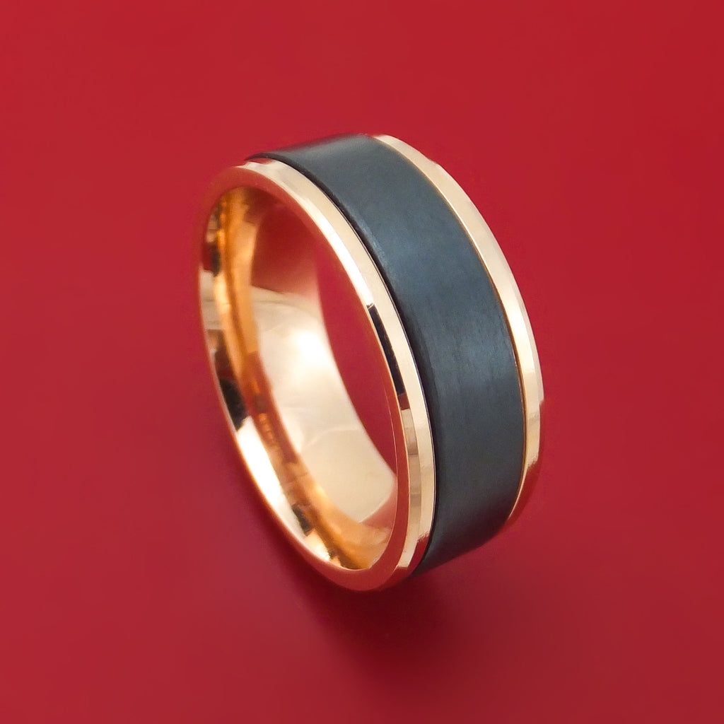 14K Rose Gold and Black Titanium Ring by Ammara Stone