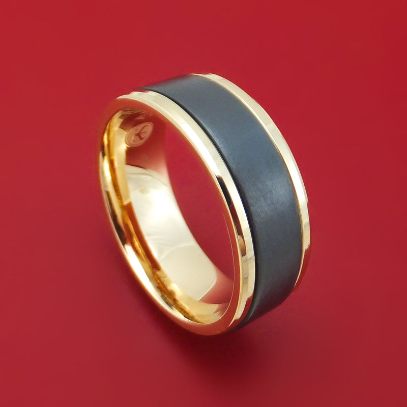 14K Yellow Gold and Black Titanium Ring by Ammara Stone