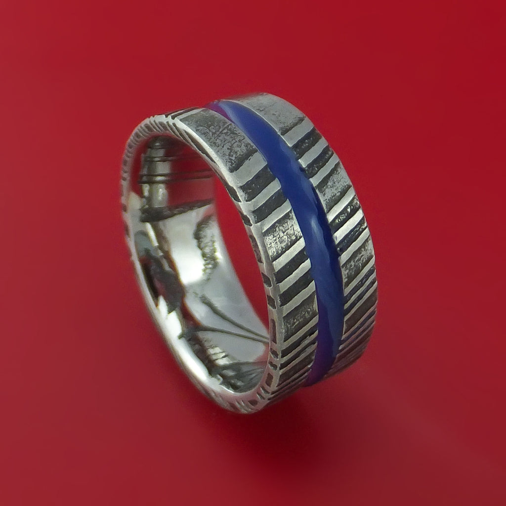 Kuro Damascus Steel Ring with Center Blue Inlay Thin Blue Line Wedding Band Genuine Craftsmanship