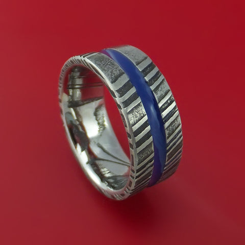 Damascus Steel Ring with Center Blue Inlay Thin Blue Line Wedding Band Genuine Craftsmanship