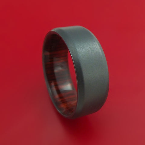Black Zirconium and Rose Wood Hard Wood Sleeve Ring Custom Made