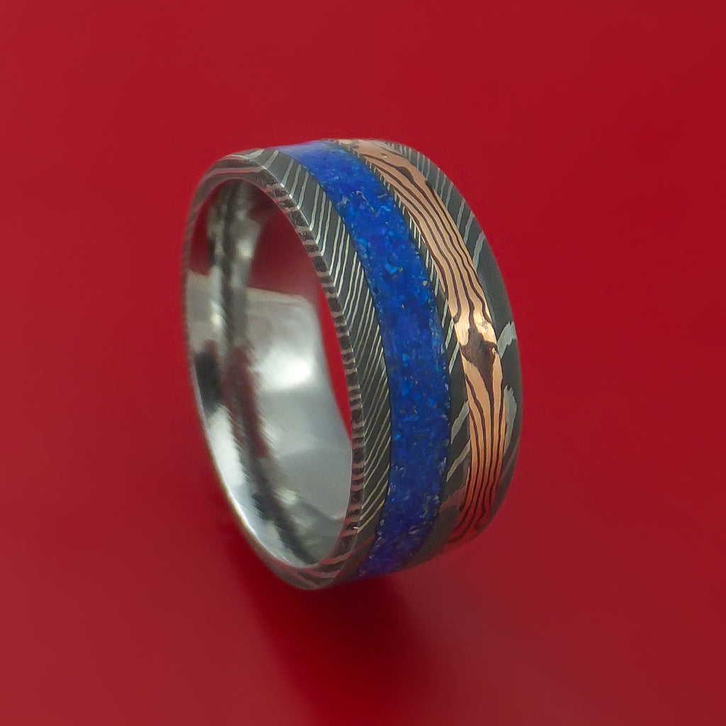 Damascus Steel Band with 14k Rose Gold Mokume Shakudo and Lapis Angled Inlays Custom Made