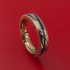 14k Rose Gold Mokume Shakudo Solid Mokume Ring with Angled Lapis Stone Inlay Custom Made