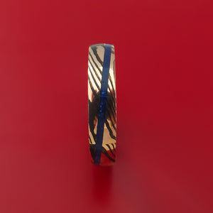 Mokume Shakudo Ring with Lapis Inlay Custom Made Band