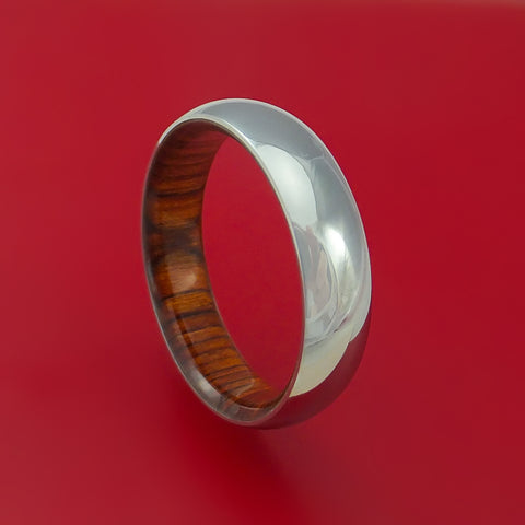 Titanium Ring with Cocobolo Hardwood Sleeve Custom Made Band