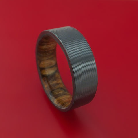 Black Zirconium and Walnut Hard Wood Sleeve Ring Custom Made