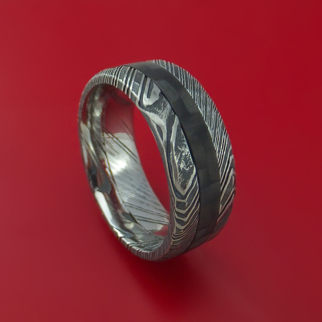 Hammered Kuro Damascus Steel Ring with Black Carbon Fiber Inlay Custom Made Band