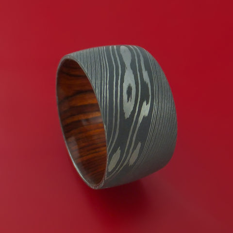 Damascus Steel Ring with Cocobolo Wood Sleeve Custom Made Wood Band