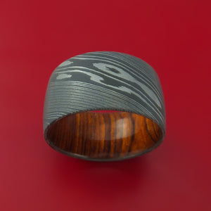 Wide Damascus Steel Ring with Interior Hardwood Sleeve Custom Made Band