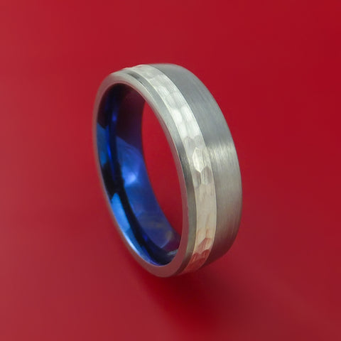 Titanium and Silver Anodized Ring Hammered Wedding Band Custom Made