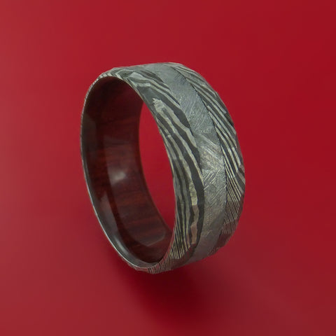 Damascus Steel and Gibeon Meteorite Hammered Ring with Red Heart Hardwood Sleeve Custom Made Band