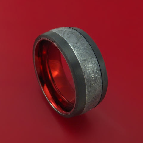 Black Zirconium Ring with Gibeon Meteorite and Anodized Sleeve Custom Made Band