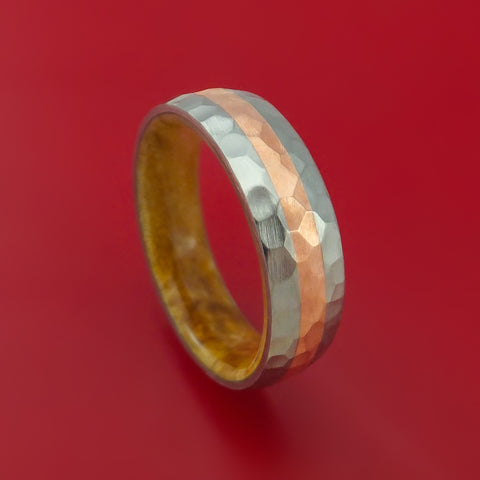Titanium and Copper Ring Custom made Band Hammer Finish with BOX ELDER BURL Hardwood Sleeve