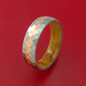Hammered Titanium Ring with Copper Inlay and Interior Hardwood Sleeve Custom Made Band