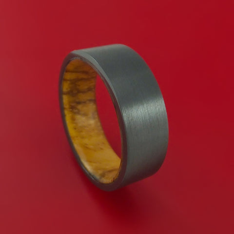 Black Zirconium and Zebra Wood Hard Wood Sleeve Ring Custom Made