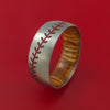 Titanium Ring with Baseball Stitching and Cerakote Inlays and Interior Hardwood Sleeve Custom Made Band