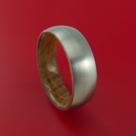 Titanium Ring with Jack Daniels Whiskey Barrel Wood Sleeve Custom Made Band