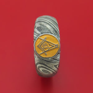 Kuro Damascus Steel Masonic Emblem Signet Ring with Cerakote Custom Made Band