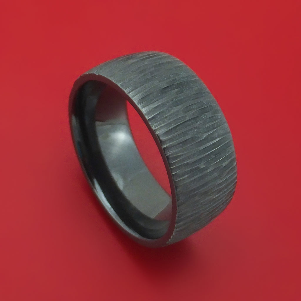 Black Zirconium Tree Bark Finish Ring Custom Made