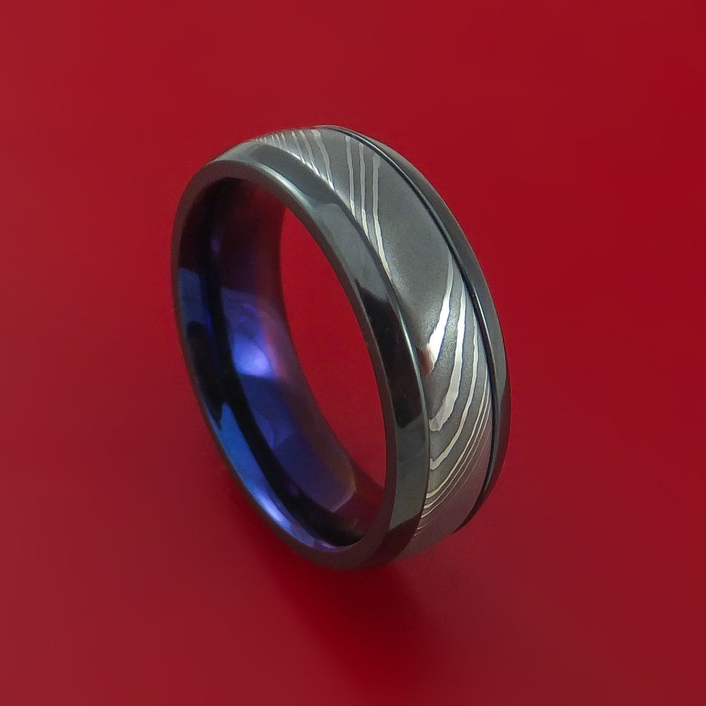 Black Zirconium Ring with Damascus Steel Inlay and Interior Anodized Sleeve Custom Made Band