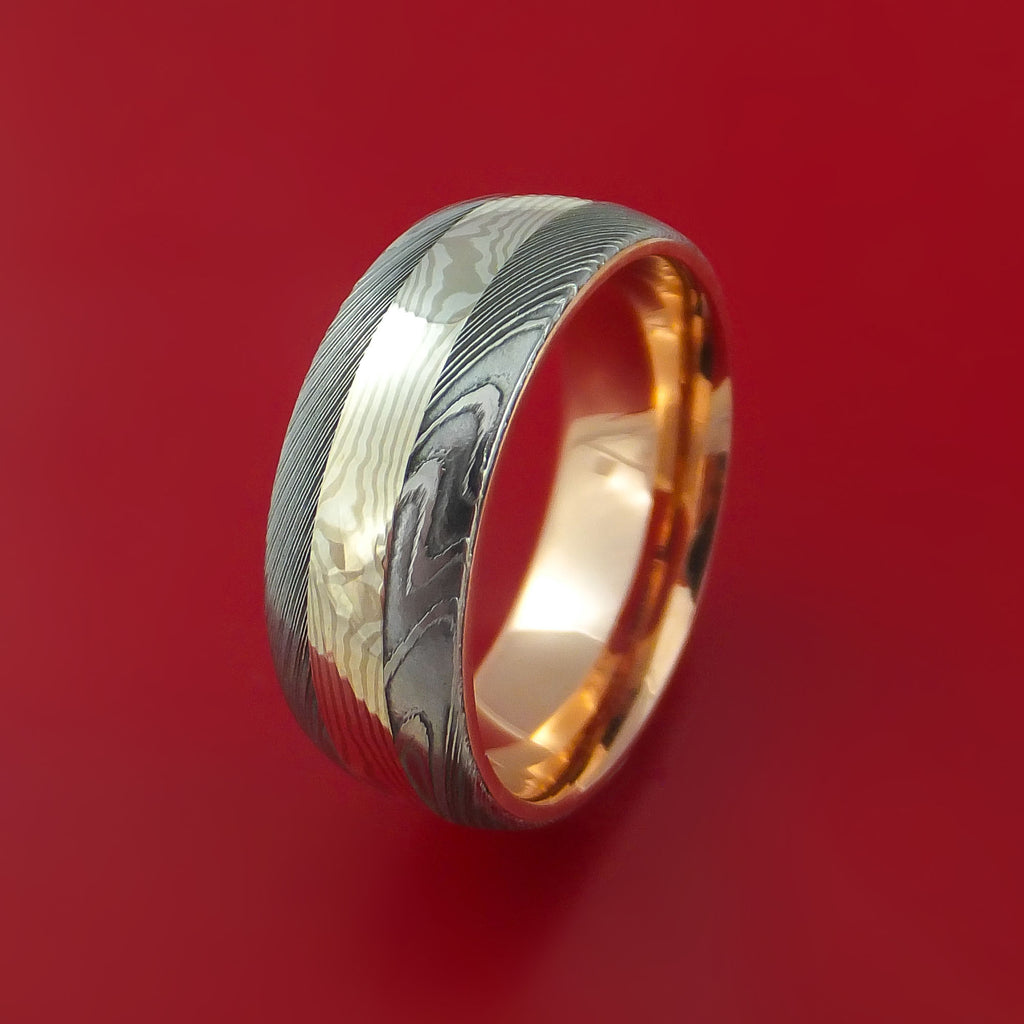 Damascus Steel and Mokume Ring with Rose Gold Sleeve Wedding Band Custom Made