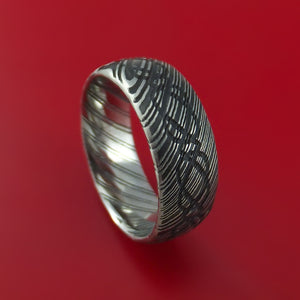 Kuro Damascus Steel Ring with Infinity Etched Celtic Design Inlay Custom Made Band