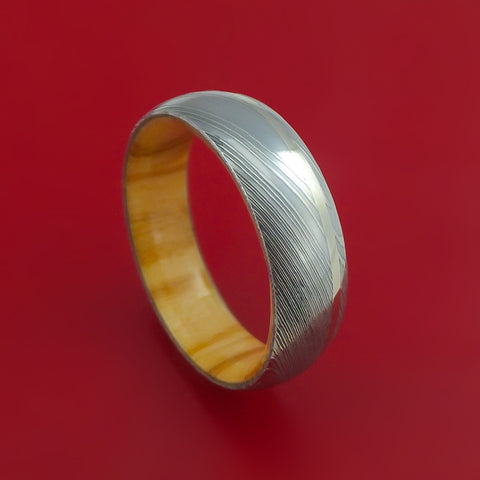 Damascus Steel Ring with 14k White Gold Inlay and Olive Wood Hardwood Interior Sleeve Custom Made Band