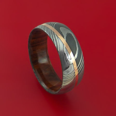 Damascus Steel Diagonal 14K Rose Gold Ring with Hardwood Sleeve Wedding Band Custom Made
