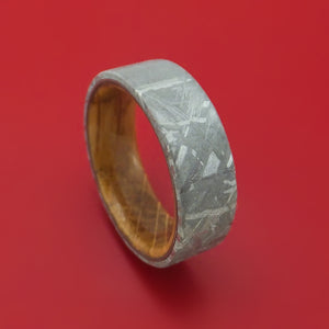 Gibeon Meteorite and Whiskey Barrel Wood Ring Custom Made
