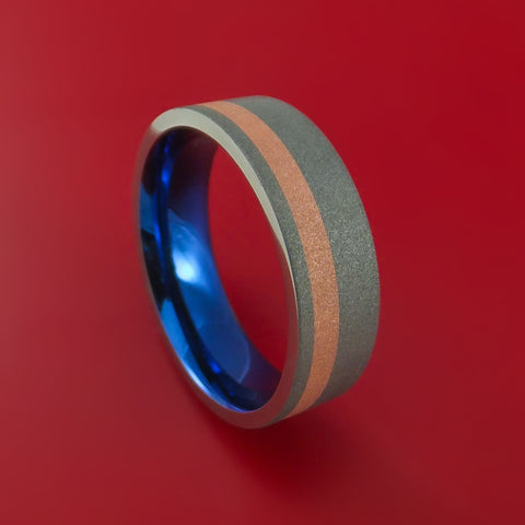 Titanium Anodized Ring with Copper Inlay Wedding Band Any Size Sandblast Finish